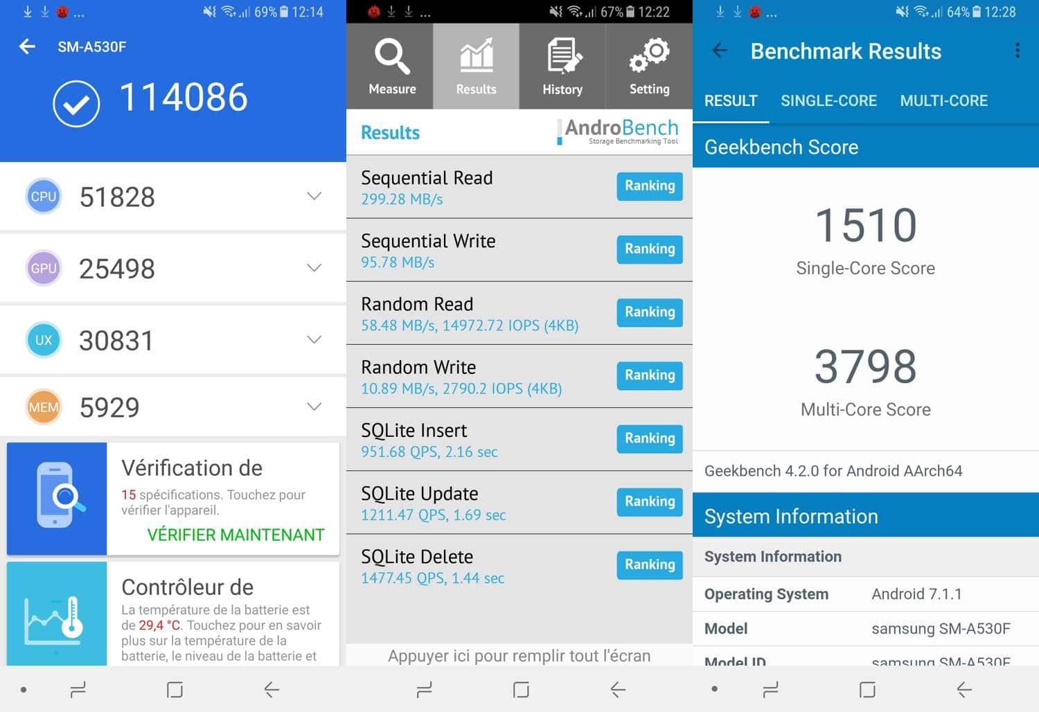 test samsung galaxy a8 benchmarks