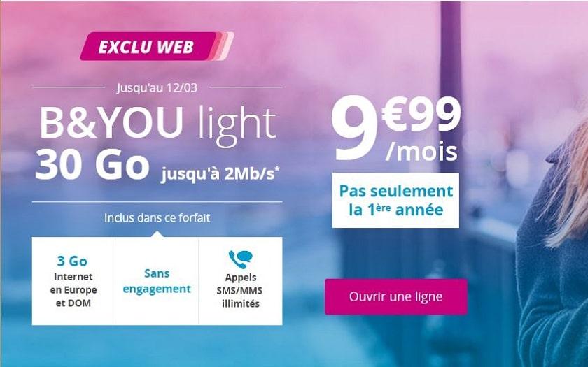 Forfait B&you light 30 Go à 9.99 € / mois