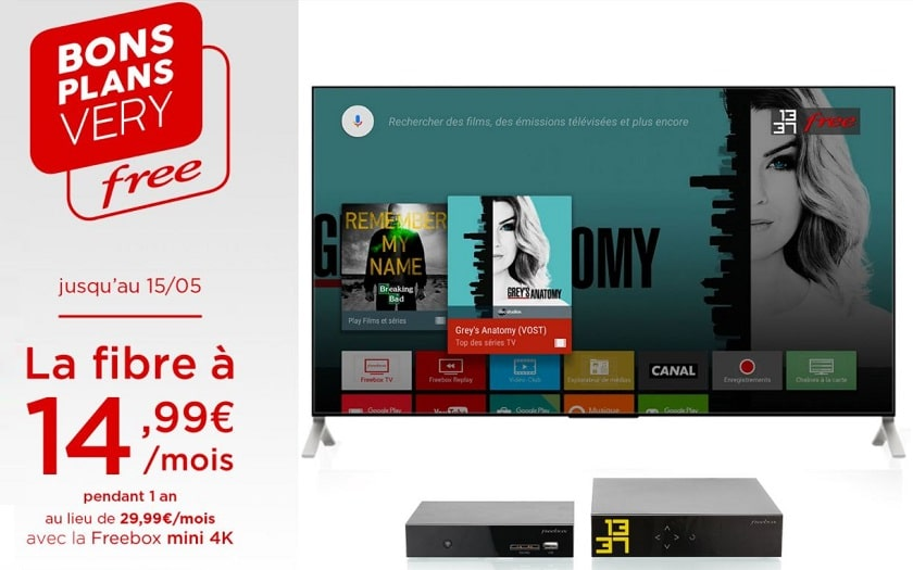 bons plans very free freebox mini 4k a 15€ par mois