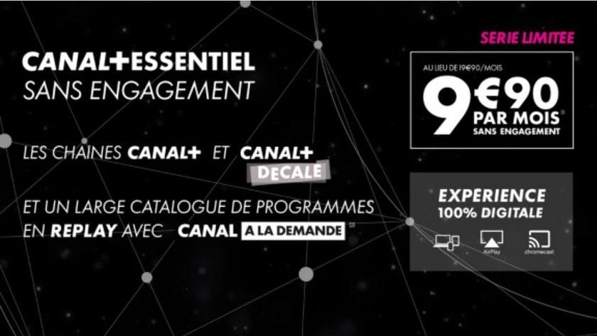 Abonnement canal+ essentiel à 9.90 € par mois sur vente privée