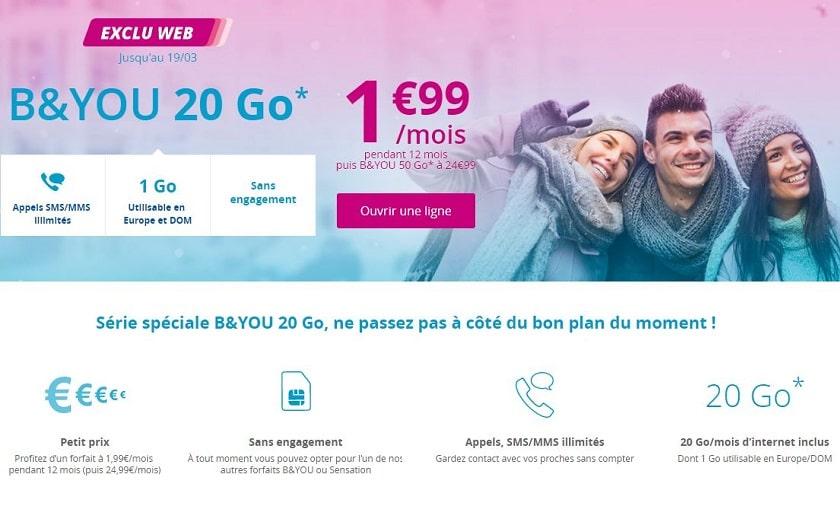 forfait b&you 20 go à 1.99 € par mois pendant 1 an