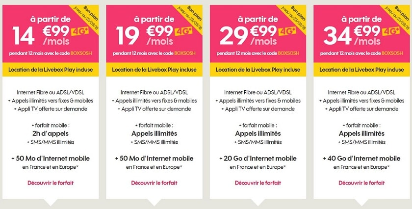 Sosh mobile + livebox 15 € de réduction par mois pendant 1 an