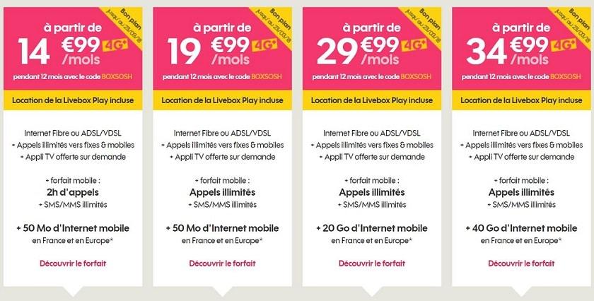 Sosh mobile + livebox 15 € de réduction par mois pendant 1 an