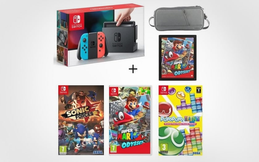 Console Nintendo Switch avec paire de Joy-Con néon + Super Mario Odyssey + Mario Kart 8 Deluxe