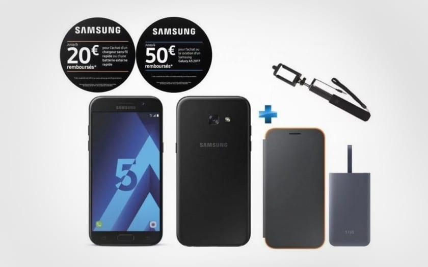 French Days Samsung smartphone Galaxy A5 2017 perche selfie batterie externe 5100mAh Flip Cover