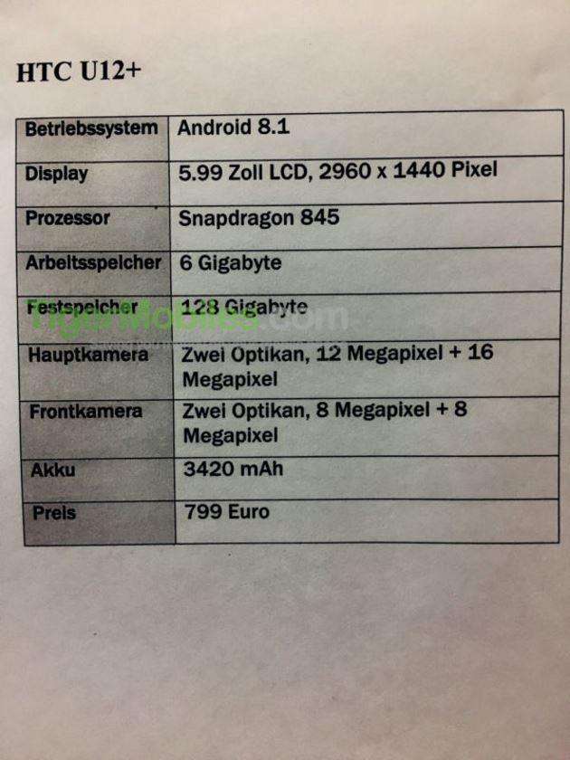 htc u12 plus fiche technique prix 799