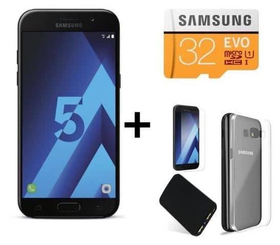 Smartphone Samsung Galaxy A5 2017 noir + accessoires pas chers