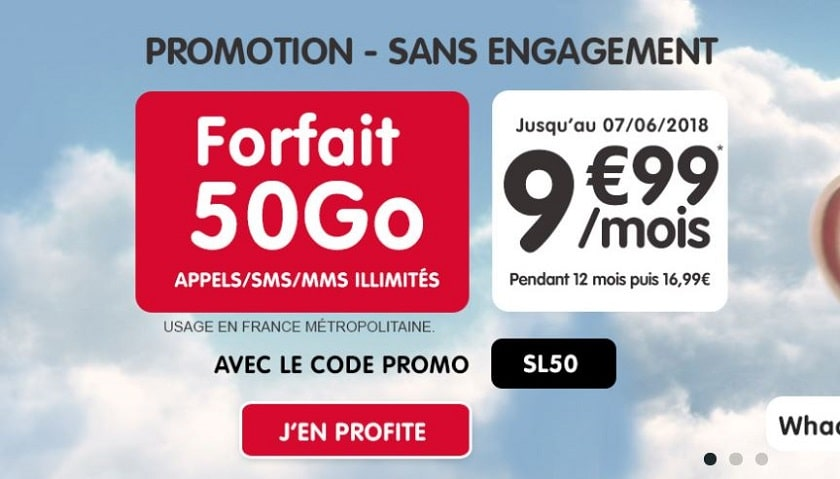 forfait nrj mobile 50 Go à 9.99 € pendant 1 an