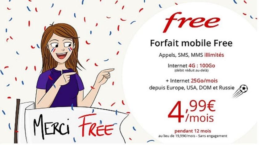 forfait free mobile 100 go en vente priv e 4 99 mois pendant 1 an