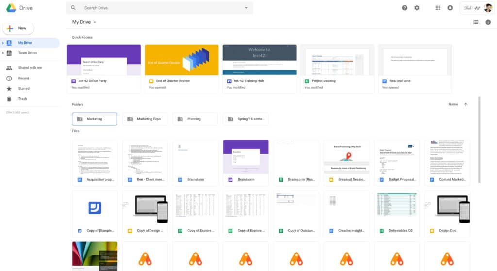 how to change google drive view