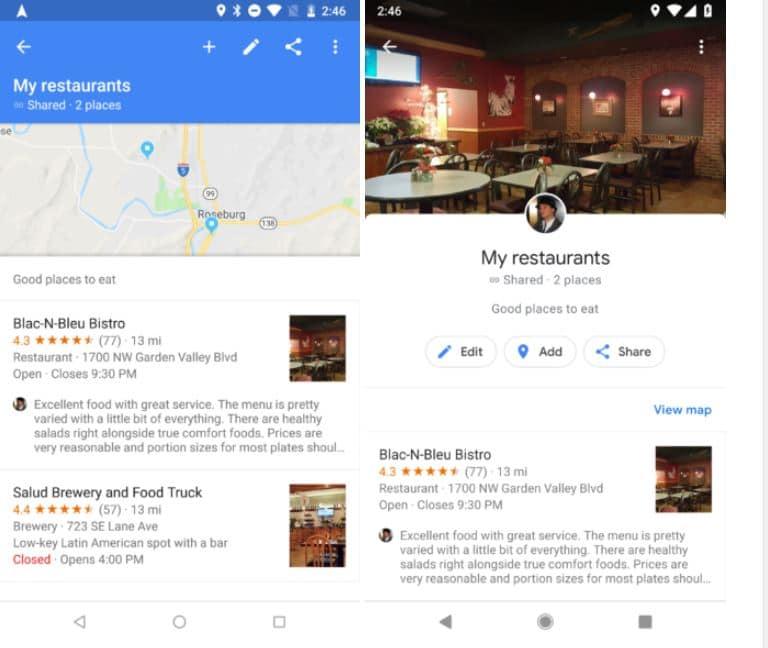 google maps interface
