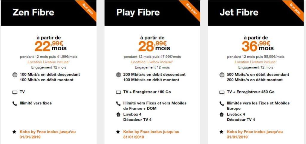 orange livebox prix fibre