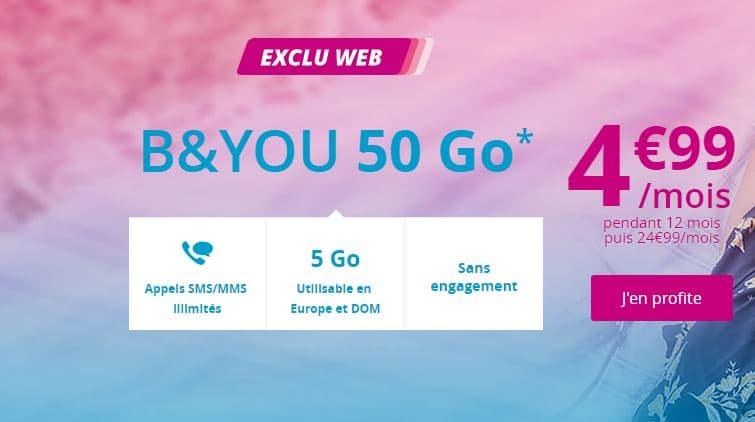 forfait B&You 50 Go en promo à 4.99 €