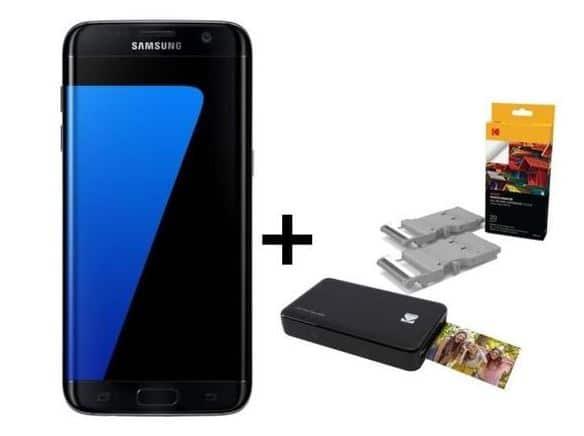 Samsung Galaxy S7 Edge avec une Mini Printer Kodak et une cartouche Kodak pour 20 photos