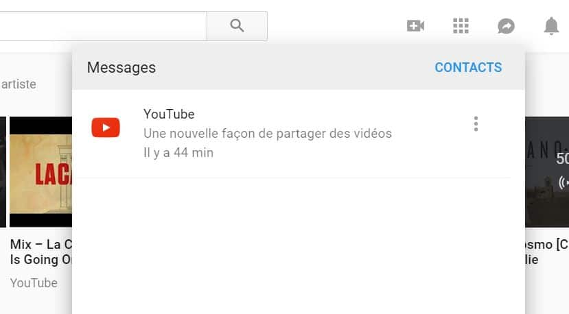 youtube messagerie