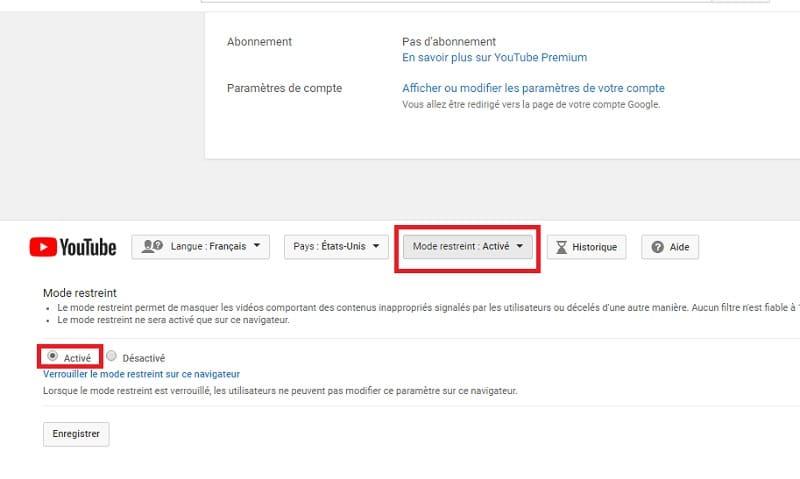 Activer mode restreint YouTube