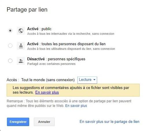 Activer partage public Google Drive