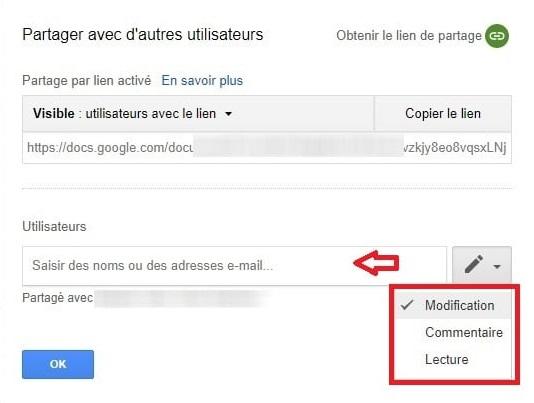 Droit d'accès fichiers partagés Google Drive