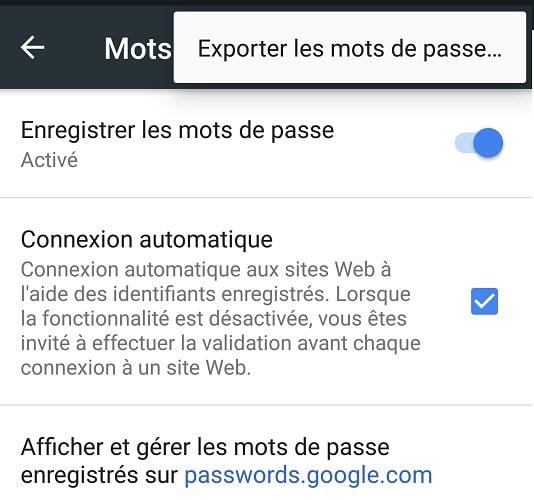 Exporter ses mots de passe Google Chrome depuis un smartphone