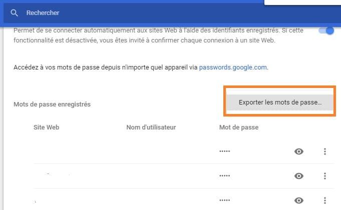 Comment exporter ses mots de passe Google Chrome depuis un PC