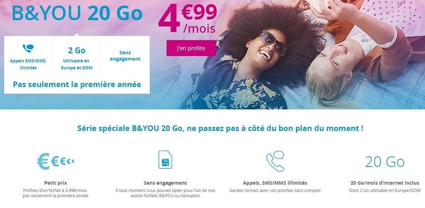 forfait b&you go sans engagement et a vie à 4.99 € / mois
