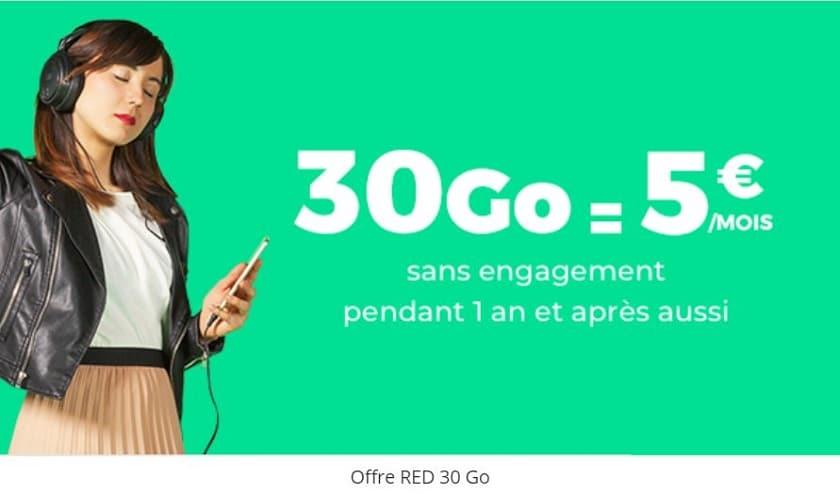 forfait sfr red 30 go a 5 euros par mois sans engagement et a vie