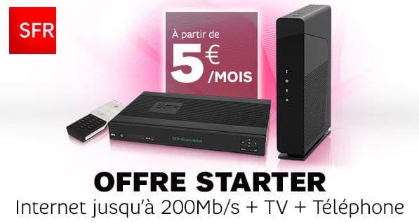 Box Starter SFR Internet + TV + Appels illimités à partir de 5 € / mois