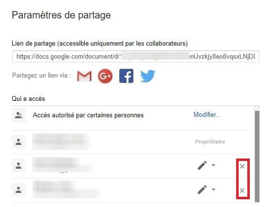 Supprimer partage Google Drive