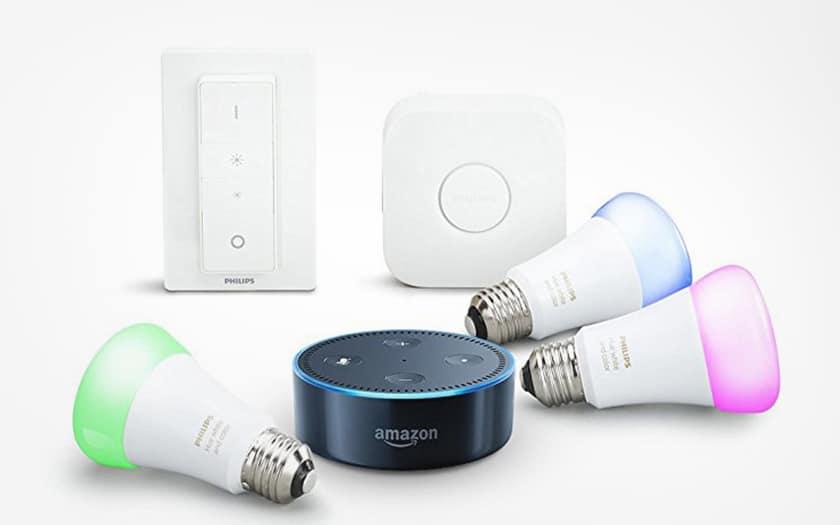 Amazon Echo Dot avec kit Philips Hue couleur