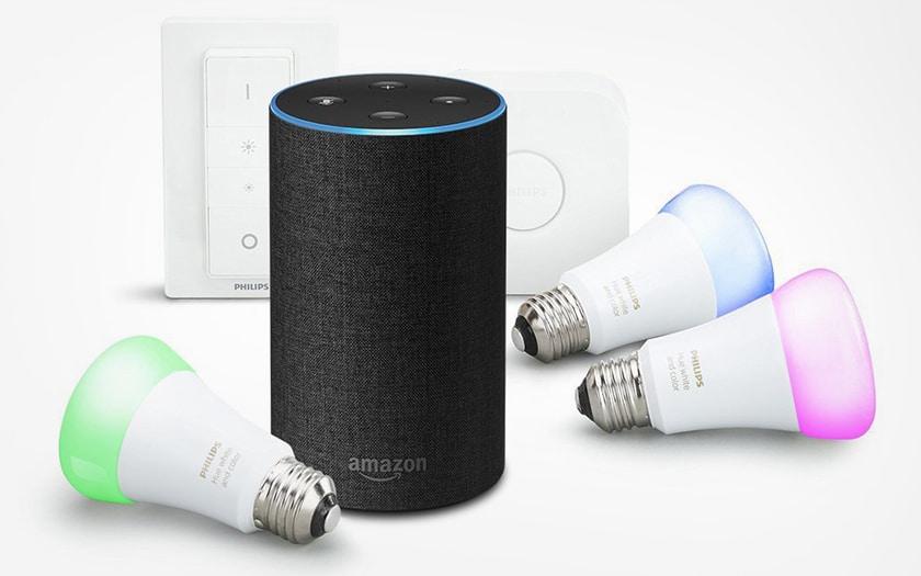 Enceinte Amazon Echo avec kit Hue Philips couleur