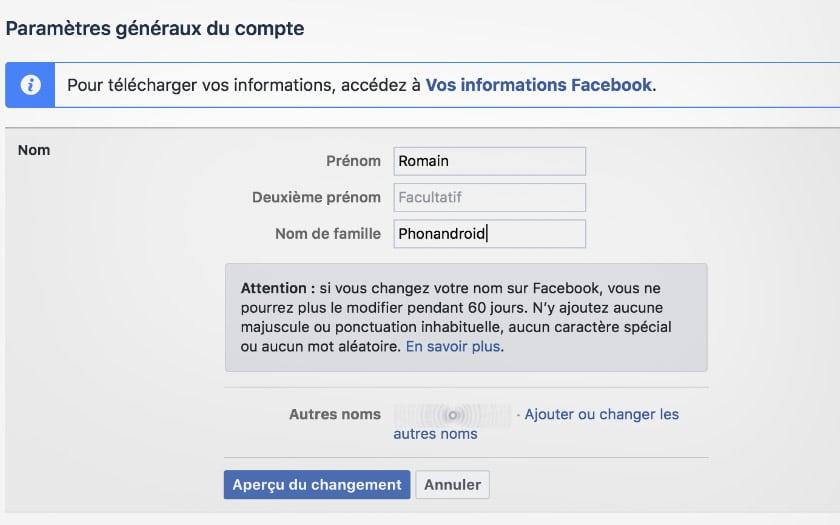 changer nom facebook pc