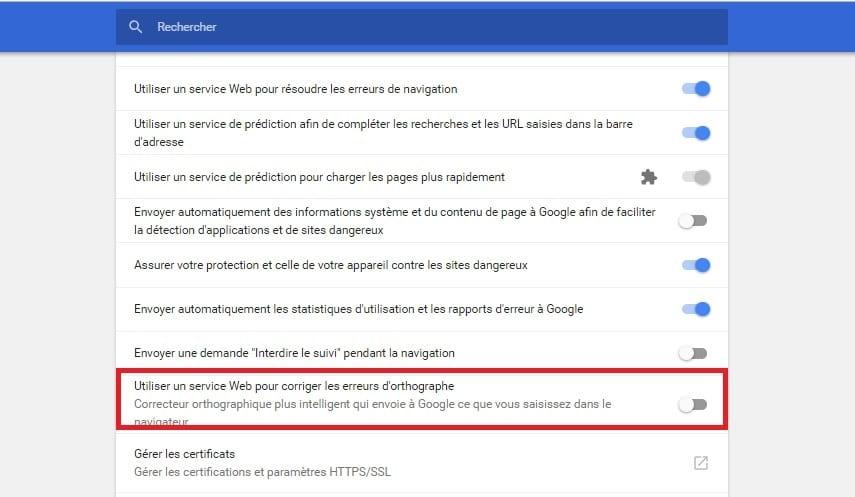 Activer le correcteur d'orthographe amélioré Google Chrome