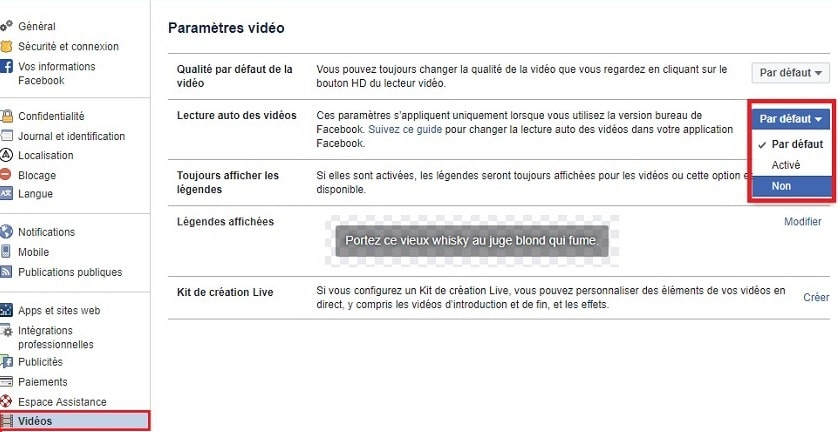 Désactiver autoplay Facebook web