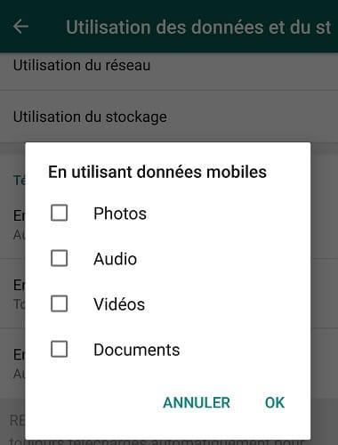 Désactiver le téléchargement automatique des photos dans whatsapp
