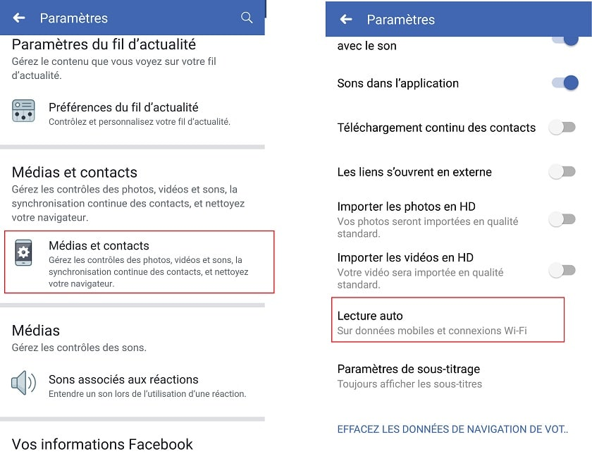 Lecture automatique Facebook
