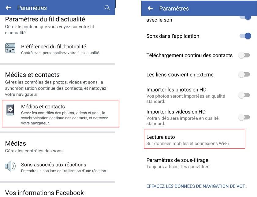 Lecture automatique Facebook