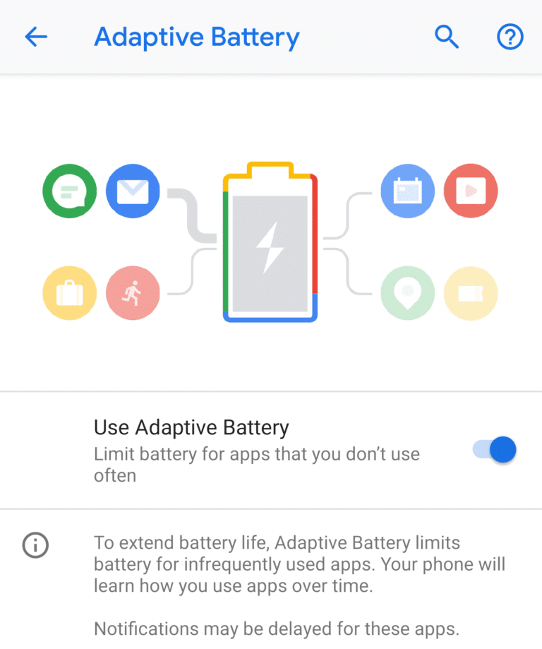 android pie batterie adaptative