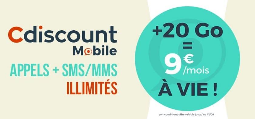 forfait cdiscount mobile 20 go à 9 €  / mois sans engagement à vie