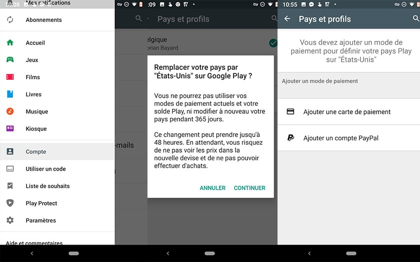 google play store changer pays