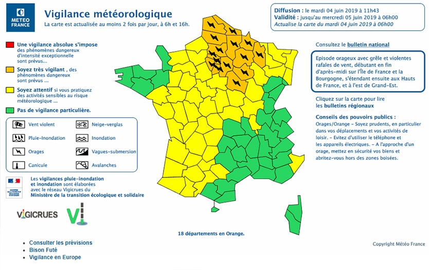 carte Météo France alerte orage