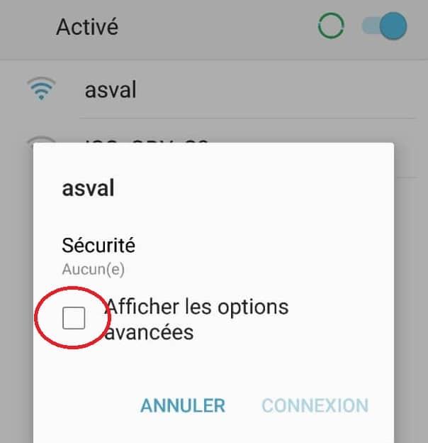 Afficher les options avancées du WiFi