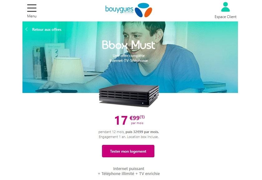 BBox Must, Internet Fibre TV et Téléphonie à 17,99 € mois pendant 1 an