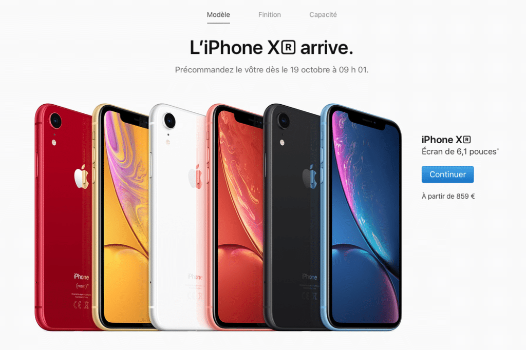 prix de l'iphone xr
