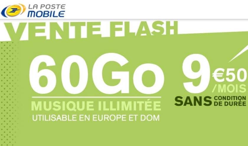 la poste mobile forfait 60 Go à 9.50 € / mois sans engagement à vie