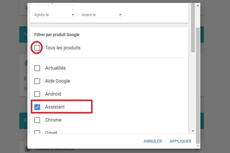 Historique Google Assistant