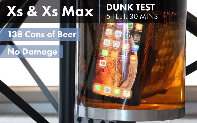 iphone xs test etanche biere
