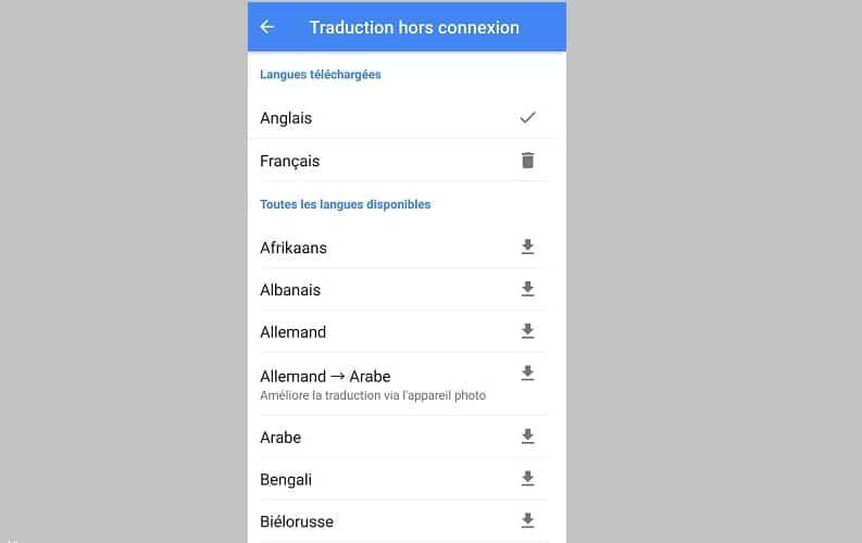 Télécharger une langue dans Google Traduction