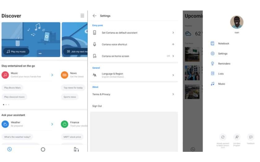 L'interface de cortana 3.0 beta