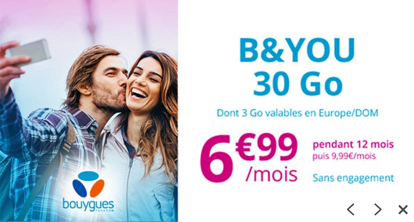 Forfait b&you 30 Go promo showroomprive