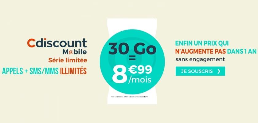 forfait cdiscount mobile 30 go à 8.99 € / mois